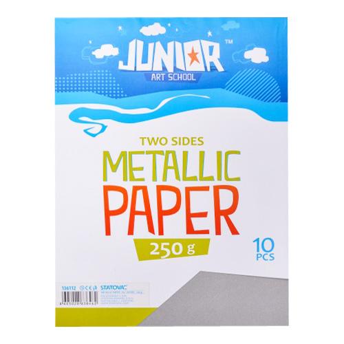 Dekoračný papier A4 Metallic strieborný 250 g, sada 10 ks