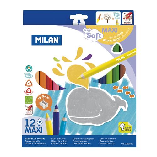 Pastelky MILAN Maxi trojhranné voskové 12 ks + orezávatko