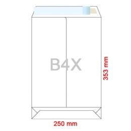 Obálky B4 X  250x353 mm dno tašky biele, samolepiace, krycia páska, 250 ks