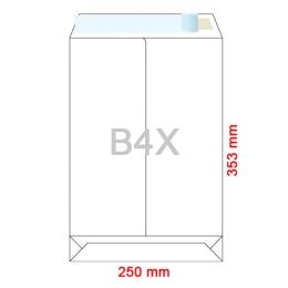 Obálky B4 X  250x353 mm dno tašky biele, samolepiace, krycia páska, 50 ks