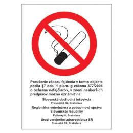 Etikety Info - Zákaz fajčiť (Z.z. 377/2004) 185x131 mm