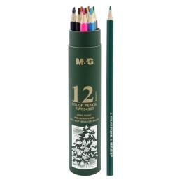 Pastelky šesťhranné M&G v puzdre, sada 12 ks