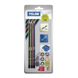 Ceruzka MILAN 3xtrojhranná HB+guma+strúhadlo