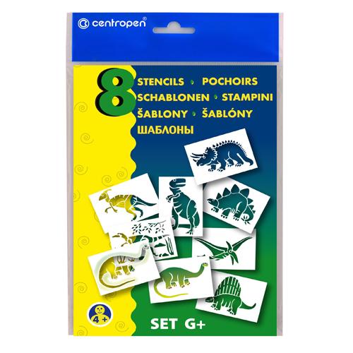 Šablóny papierové CENTROPEN 9996/G Dinosaury, sada 8 ks