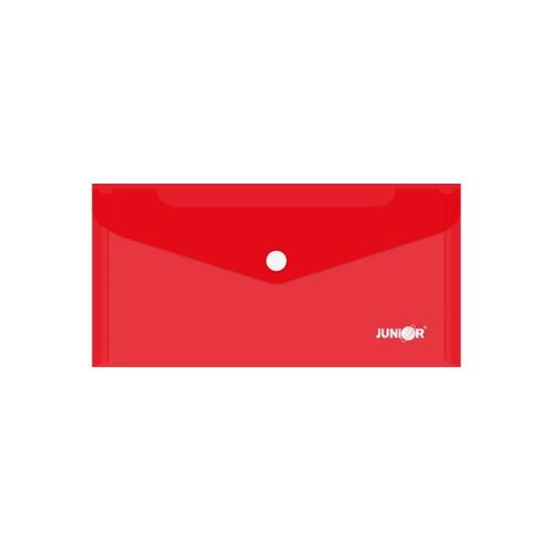 Obal s patentkou PP/DL, priehľadný/ červený