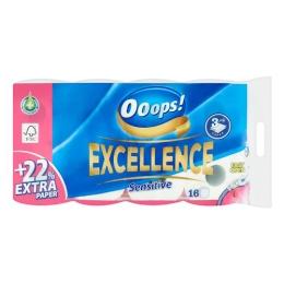 Toaletný papier OOOPS! Excellence Sensitive 3-vrstvový, 16 ks/bal