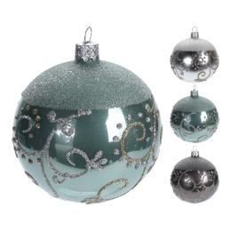 Vianočná guľa - sklenená, rôzne druhy 100 mm, 1ks