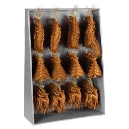 Vianočná ozdoba - PP medená - rôzne tvary 16 cm, mix/1ks