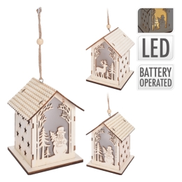 Domček - svietiaci LED - teplá biela 13x10x10 cm, mix/1ks