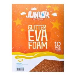 Dekoračná pena A4 EVA oranžová hrúbka 2,0 mm glitter, sada 10 ks
