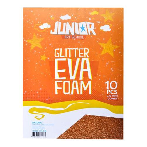 Dekoračná pena A4 EVA Glitter oranžová 2,0 mm, sada 10 ks