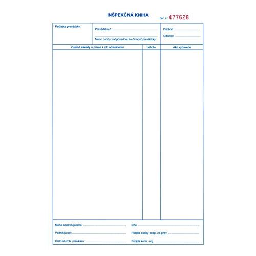 Inšpekčná kniha A4, 50 x 3 listy (22)