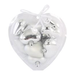 Vianočné ozdoby - PP strieborné - srdcia 6 cm, sada 10ks