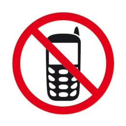 """Etikety - informačné """"Zákaz používania mobilov"""", 114x114mm"""