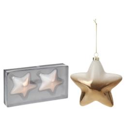 Vianočné ozdoby - PP medené - hviezdy 10 cm, sada 2ks