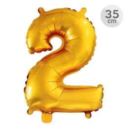 Balón narodeninový 35 cm - číslo 2, zlatý