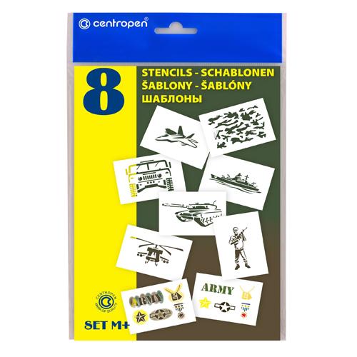 Šablóny papierové CENTROPEN 9996/M Motívy vojenské, sada 8 ks
