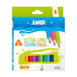 Pastelky Jumbo 12 farebné Junior 10 + zlatá a strieborná