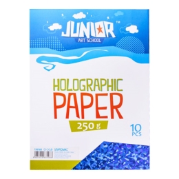 Dekoračný papier A4 Holografický modrý 250 g, sada 10 ks