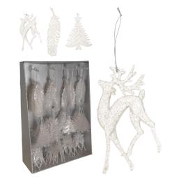 Vianočná ozdoba - PP biela - rôzne tvary 16 cm, mix/1ks