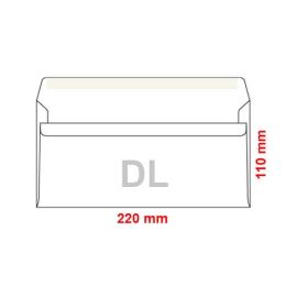 Obálka DL 110x220 mm samolepiaca, s krycou páskou, 1000 ks