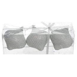 Vianočné ozdoby - PS strieborné - s korálkami 9 cm, sada 3ks