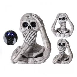 Dekorácia Halloween 39 cm - Lebka s LED osvetlením a zvukom, mix/1ks
