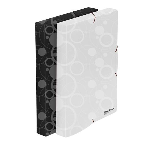 Box na spisy PP s gumou A4, čierny (Black&White)