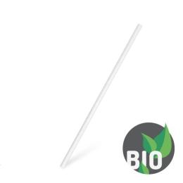 Slamky papierové rovné, biele 20 cm, 100 ks