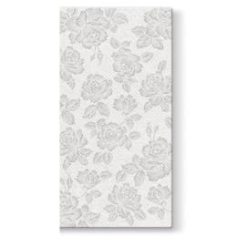 Vrecká na príbory PAW AIRLAID 40x40cm Subtle Roses Silver, 25 ks/bal