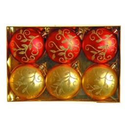 Vianočné gule - PP červeno/zlaté 80 mm - ploché, set 6ks