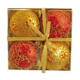 Vianočné gule - PP 100 mm/ červeno zlaté - ploché, sada 4ks