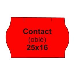 Etikety cen. CONTACT 25x16 oblé - 1125 etikiet/kotúčik, červené