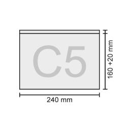 Obálka C5 transportná/priehľadná 240x160+20 mm, bal/100 ks