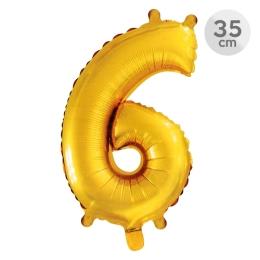 Balón narodeninový 35 cm - číslo 6, zlatý
