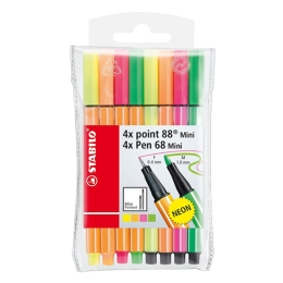 Liner STABILO Pen 68 Mini + Point 88 Mini sada 8 ks - neon