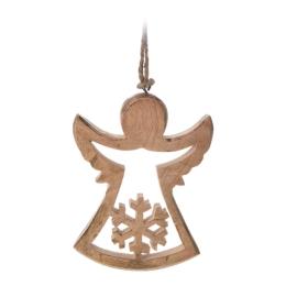 Vianočná ozdoba - drevená, anjel 15 cm, 1ks