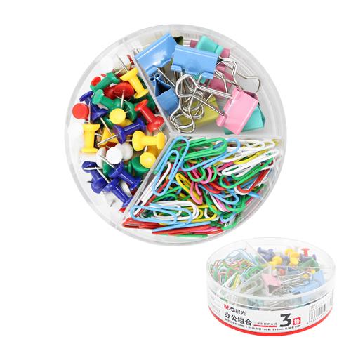 Kancelárska sada M&G 3v1 pripináčiky/binder clip/spony, sada farebná 160 ks
