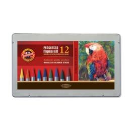 Pastelky KOH-I-NOOR Progresso - akvarelové, sada 12 ks v plech. boxe