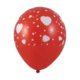 Balón L 30 cm, Srdce biele /5 ks/