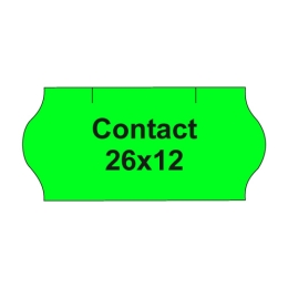 Etikety cen. CONTACT 26x12 oblé - 1500 etikiet/kotúčik, zelené