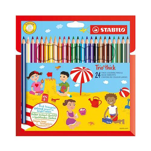 """Farebné ceruzky, trojuholníkové, hrubé,  STABILO """"Trio"""", 24 rôznych farieb"""