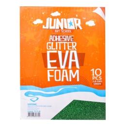 Dekoračná pena A4 EVA zelená samolepiaca glitter 2,0 mm, sada 10 ks