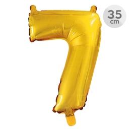 Balón narodeninový 35 cm - číslo 7, zlatý