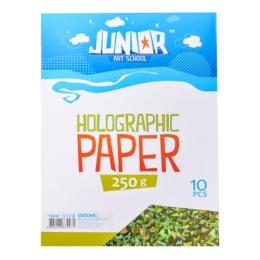 Dekoračný papier A4 zelený holografický 250 g, sada 10 ks
