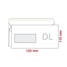Obálky DL 110x120 mm s okienkom v ľavo, 1000 ks