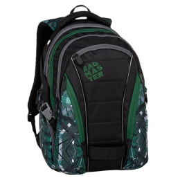 Študentský batoh BAG 9 E GREEN/GRAY/BLACK