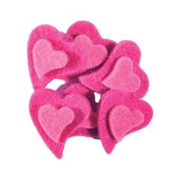 Dekorácia srdcia plyš ružové, sada 6 ks