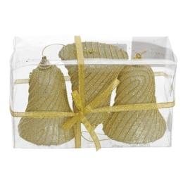 Vianočné ozdoby - PS zlaté - zvončeky s korálkami 10 cm, sada 3ks