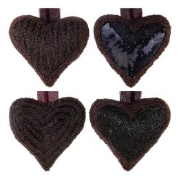 Dekorácia závesná - Srdce z korálok 13x13 cm, čierno/fialové, mix/1ks